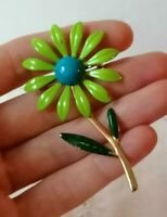 Vintage 1960s Enamel Flower Stylised Statement Americana Green Daisy Fun Brooch
