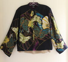 Citron Santa Monica PL L Quilted Silk Butterfly Art-Wear Asian Jacket + Tank Top