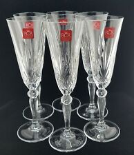 6 NEW Royal Crystal Rock Champagne OVERTURE Champagne Flutes,w/Labels, ITALY