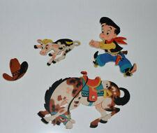 Vintage 1950s Nursery Wall Decor Western Cowboy Horse Calf Hat Dolly Toy Co