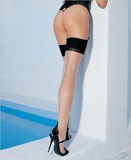 1024 Calze da Reggicalze Nudo Velate Tallone Cuban Heel Con Riga Balza Alta Nero