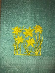 Embroidered Light Teal  Bathroom Hand Towel Daffodil Flowers HS1882