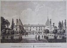 LE CHATEAU DE LA MALMAISON , du côté de arrivée  LABORDE JARDINS DE FRANCE 1808.