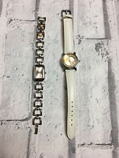 Watches By Oriflame  White Faux Leather & Silver Chain Styles Womens Not Working