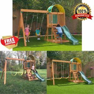 Children Wooden Swing Set Slide Kids Playground Outdoor Backyard Play W/ Sandbox