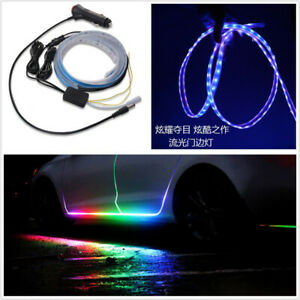 2 Pcs 1.5M RGB Mode Car Atmosphere Light Door Edge Streamer Lamp APP Control