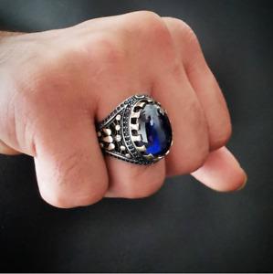 SOLID STERLING 925 SILVER HANDMADE JEWELRY ELEGANT BLUE SAPPHIR MEN'S RING