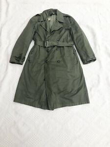 Vintage 1950s Green Cotton Army Wool Lined Trench Coat