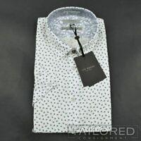 NWT - TED BAKER $155 White Geometric 100% Cotton Mens Dress Shirt Size 5 / 16.5