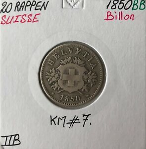 SUISSE - 20 RAPPEN 1850 BB - Pièce de Monnaie en Billon // Qualité : TTB