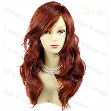 Wiwigs Wonderful Long Copper Red Wavy Skin Top Heat Resistant Ladies Wig