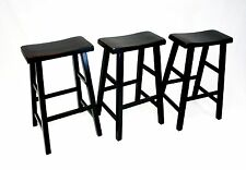 "eHemco 29"" Saddle Seat Bar/Counter Stools in Antique Black -Set of 3"