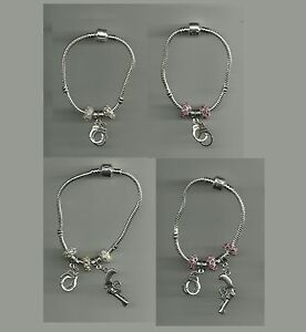 Silver Plated Bracelet / Necklace with Gun & Handcuff Charm & Crystal Beads