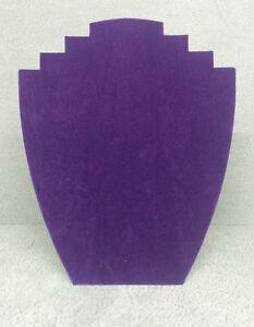 Set of 5 Jewellery Display Card Busts [B] Purple Suede