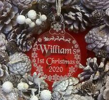 Personalised Baby,s 1st Christmas Xmas Bauble Tree Decoration Keepsake Gift 2020