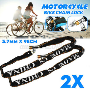 2x 1M Heavy Duty Chain Lock High Security Reinforced Metal Motorcycle Bicycle