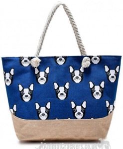 French Bulldog lined canvas Beach Tote Bag Holdall Handbag Frenchie lover gift