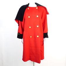 ESCADA Wollmantel DE 36  rot schwarz Damen Coat Mantel Wool Schurwolle