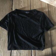 New Topshop semi sheer black stripe crop top t shirt goth grunge staple size 8