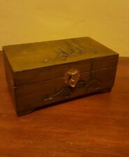 Vintage Carved Wooden Keepsake Jewelry Box with Mirror Hinged Red Interior