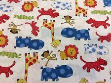 Benartex - Baby Safari -#04215- Bright Animals On White Background 100% Cotton