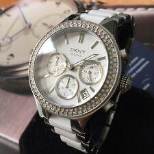 Ladies DKNY Designer Watch CHAMBERS NY8181 Chronograph CERAMIC Steel Genuine
