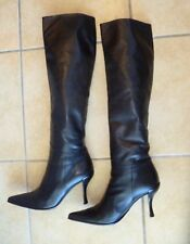 ✔Baldinini Women High Boots Heels Black Lambskin IT36.5 US 6-6.5 Italy Runway