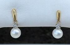 10K GOLD PEARL & DIAMOND EARRINGS