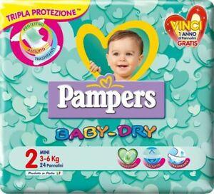 6 CONFEZIONI Pampers Baby Dry Misura 2 (3-6 Kg) 144 Pannolini