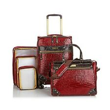 "Samantha Brown 5-piece Classic 25"" Spinner Luggage Set Burgundy New"