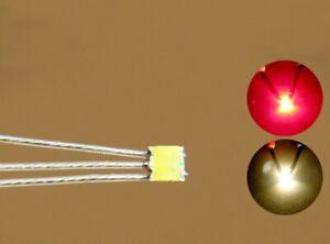 10x SMD DUO LED 0605 Bi-Color Rot/Warmweiß mit Kupferlackdraht+Widerstand