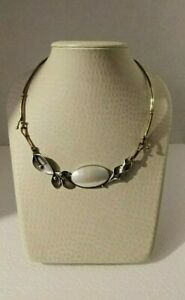 Vintage Hand Crafted Sterling & Brass Choker -  Leaves - Mother of Pearls Oval