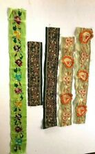 Lot 7 Different Antique Vintage Sari Border Hand Embroidered  India Trim Sewing