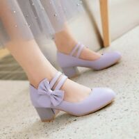 Girls Lolita Sweet Womens Chunky Low Heels Bowknot Ankle Strap Shoes Mary Jane