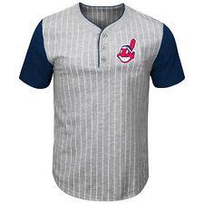 Cleveland Indians Life Or Death Pinstripe Henley Jersey Shirt 3XLTall MLB