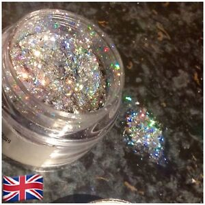 Latest Highest Quality Mylar Flakes Super Sparkle 1g Pots In Holo Silver  🇬🇧