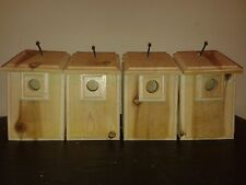 4 CEDAR Bird Houses 2 House Wren (Titmouse) & 2 Chickadee Easy to Open and Clean