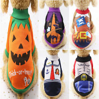 Pet Dog Sweater Halloween Clothes Pumpkin Witch Jumper Coat Puppy Cat Costume