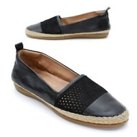 Clarks Artisan Ladies 9.5 M (41) Reeney Helen Black Jute Flats Slip-on Loafers