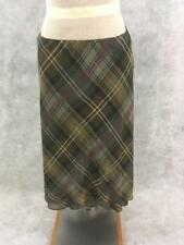 Chaps long skirt NEW Size L green brown cream plaid polyester  with lining