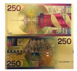 Netherland 250 gulden gold plated novelty banknote