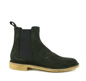 $820 Bottega Veneta Men's Dark Green Suede Chelsea Boot 312345 3217