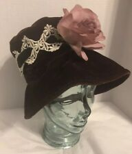 Fab Vtg 50s 60s Purple Velvet Soft Bucket Cloche Flower Brim Mod Party Hat