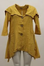 MADE IN ITALY LINEN SUMMER BIG COLLAR TIED SHAPELY JACKET SUNSHINE PLUS SIZE 3