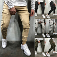Men's Slim Fit Urban Straight Leg Trousers Casual Pencil Jogger Cargo Pants