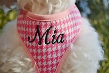 USA Made Custom Embroidered Soft Pink Plaid DOG Harness personalized