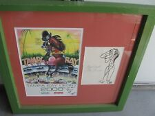 Rare Drawing by Peb Pierre Bellocq Eddie Arcaro Signed+ 2008 Tampa Bay Downs