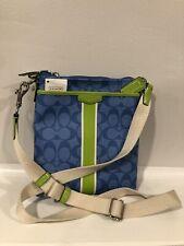 COACH Signature Blue Green Stripe Swingpack Crossbody F51265