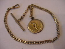 "IMPRESSIVE 11"" ANTIQUE POCKET WATCH CHAIN GOLD FILLED & 1911 FOB!"