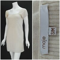 Womens Maje Santafe Dress Stretch Silk Cashmere Beige Short Sleeve Size S/M